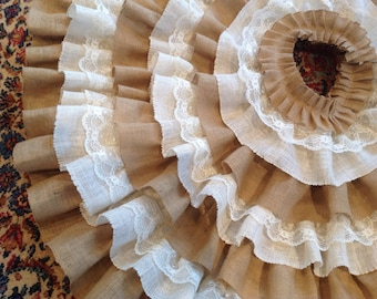 Hand sewn Ruffled Burlap and Lace Christmas Tree Skirt