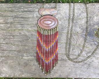 Vesta...Brass and seed bead necklace, handmade, OOAK, beaded, festival wear, fringe