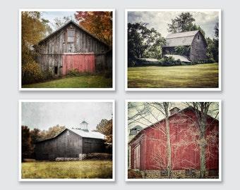 Farmhouse Decor, Rustic Print or Canvas Art, Barn Print, Red and Grey Barn Set, Barn Landscape Print, Country Decor, Farmhouse.