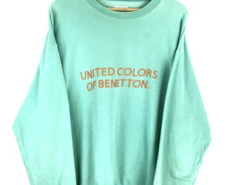 Super Rare!!! Vintage Benetton Sweatshirt  United Colors Of Benetton Embroidery Spellout Jumper Medium Large