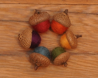 Rainbow Wool Felted  Acorns, Set of 6, also available as ornaments