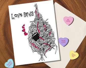 Love Birds / Valentines Day Card / Anniversary Card / Wedding Card / Love Card / Engagement / Housewarming