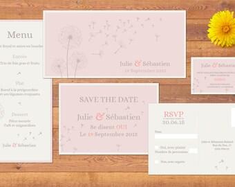 Dandelion theme wedding invitation