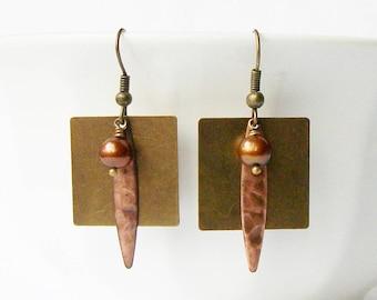 Brass and Pearl Dangle Earrings, Brass Dangle Earrings