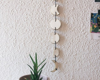Moon Phase Wall Hanging. Moon phase wall art, moon phase garland, marbled moon, phases of the moon art, phases of the moon clay wall hanging