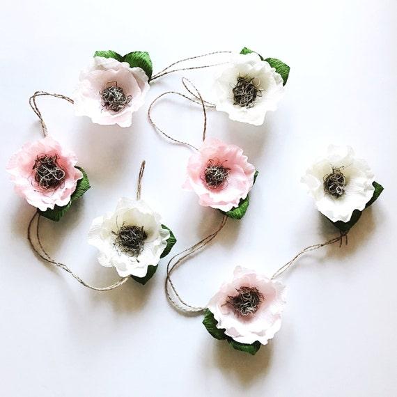 Krepp-Papier Blumen Girlande Crepe-Papier Blume