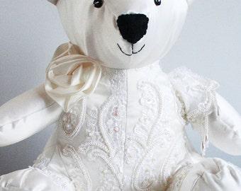 Luxury Wedding Dress Sitting Bear Keepsake - Handmade Animal Keepsake - Wedding dress Keepsake - Keepsake Gift