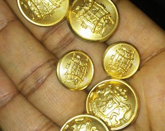 Netherlands Coat of Arms Buttons, Vintage Coat of Arms, Gold Sewing Buttons