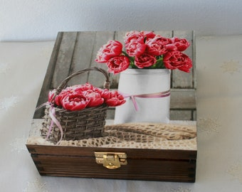wooden box peonies, jewerly storage, wooden keepsake box, floral chest
