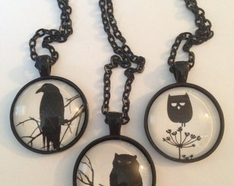 The Raven, Owl Black Silhouette Necklace