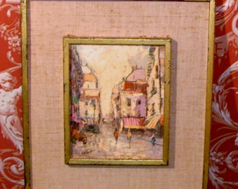 small mid century painting of paris street scene  signed A. Vernet