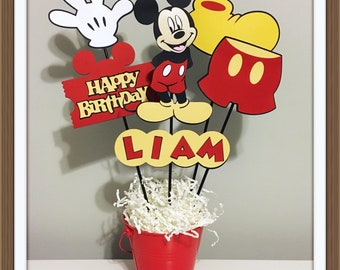 Mickey Mouse personalized birthday centerpieces