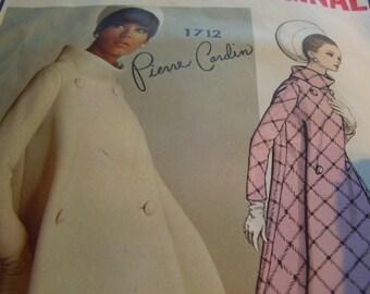 SALE Vintage 1960's Vogue 1712 Paris Original Pierre Cardin Coat Sewing Pattern, Size 12, Bust 32