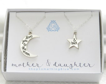 Mother & Daughter Moon and Star Necklace Set • Love You To The Moon And Back • Gift For Mom • Gift For Daughter • Moon and Star Pendants