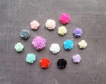 20 resin Rose flowers together mix of colors and size