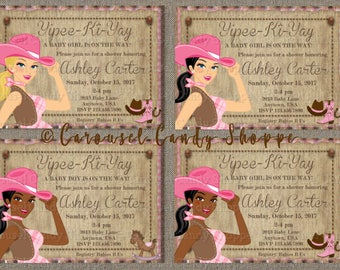Western Baby Cowgirl Baby Shower Party Invitations 5 x7 Printable Digital PDF