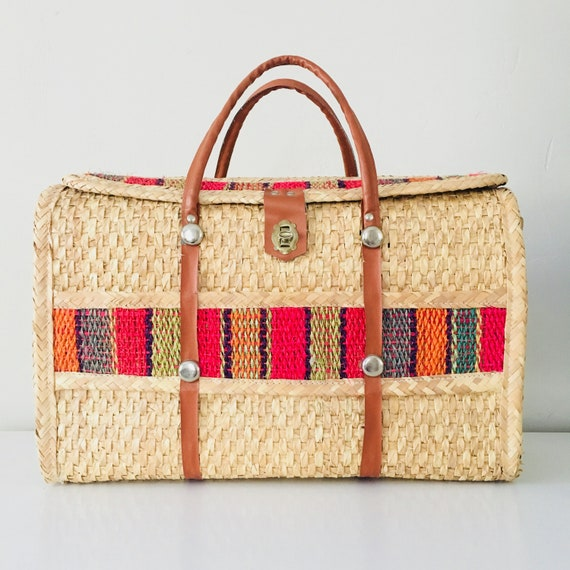 Vintage Straw Tote Bag Colorful Jute Embroidered Bohemian Travel Weekend Picnic Tote Woven Rattan Market bag
