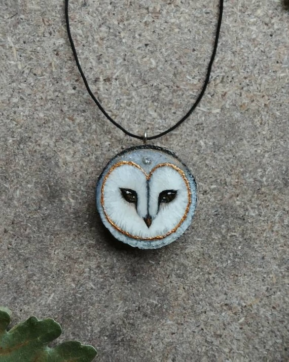 Owl pendant with bud, animal spirit, wooden pendant, hand painted, gift idea for her, Christmas gift, created by MagicWoodCreations