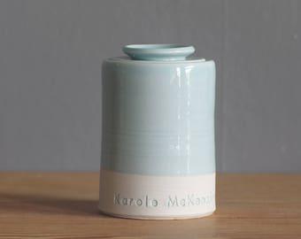 infant urn. straight shaped urn. custom baby urn for ashes. cremation urn. blue on white