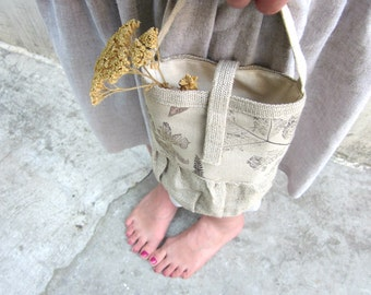 Small Bag, autumn, hand printed, hand stamped linen, naturalistic