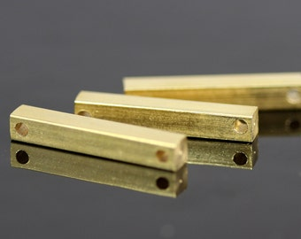 "Raw brass bar connector 4x25mm 0,16""x1""  square stamping bar, square rod (2mm 5/64"" 12 gauge hole ) sbl425-1098W"