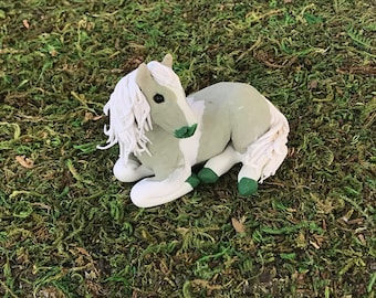 Small Green Granitex  Horse, Polymer Clay Sculpture, Ready to mail