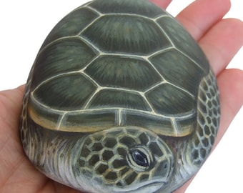 Unique Hand Painted Sea Turtle Rock by Roberto Rizzo