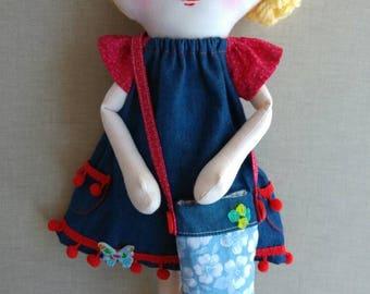 Sophie, rag doll, cloth doll, hand made doll, fabric doll, OOAK hand made doll, OOAK rag doll, OOAK fabric doll, homemade doll, art doll,