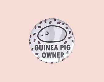 Guinea Pig Owner Badge (GREY) - guinea pig pin, crazy guinea pig lady, guinea pig button, cute cavy, cavy button, guinea pig illustration