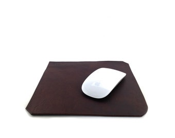 Leather Mouse Pad Brown, Mighty Mouse, Magic Mouse, Mousepad, Handmade in London