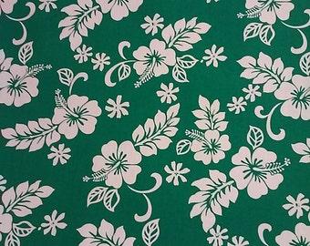 Classic Hawaiian Print Cotton Fabric Green / White (Yardage Available)