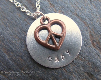 Peace Baby Hand Stamped Silver Plated, Copper Plated Heart Necklace