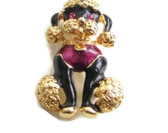 Vintage Goldtone Enamel Rhinestone French Poodle Dog Brooch  Pin