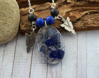 Boho necklace Dainty blue necklace Silver necklace Lapis lazuli Gift|For|Mom Birthstone necklace Resin jewelry Cameo necklace Gift for her