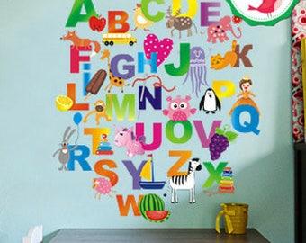 Nursery Alphabet, Alphabet Wall Decal, Colorful Alphabet Letters Decals,  Alphabet Nursery, Abc