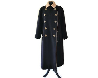 "Black Wool Coat // Double Breasted Vintage Coat// Waist 46"""
