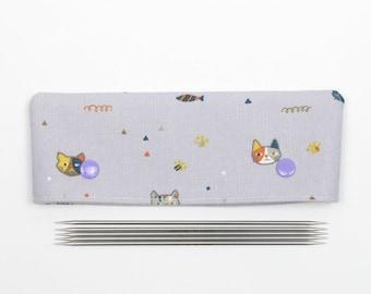 15cm / 6 inch cat DPN cozy, purple sock needle holder