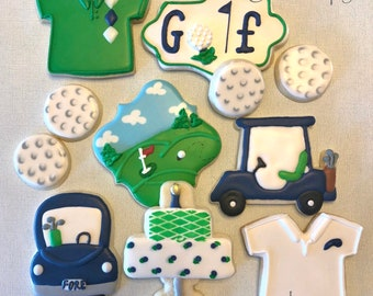 Custom DECORATED GOLF theme cookies for birthdays, retirement, parties, fundraisers and more
