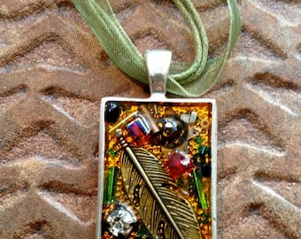 Treasure Necklace, Feather and Crystal ,Silver metal Pendant