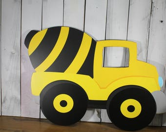 Construction Vehicle Wall Decor/Dump Truck/Digger/Bulldozer/Cement Truck/Yellow/Black/Wood/Wall Hanging