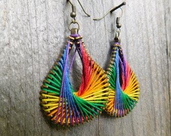Rainbow Peruvian Thread Zipper Earrings