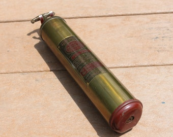Vintage 1940s Brass Quick Aid Fire Extinguisher Model 95-HD, General Fire Extinguisher