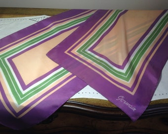 Vintage Scarf Germain Fashion Purple Green 70s