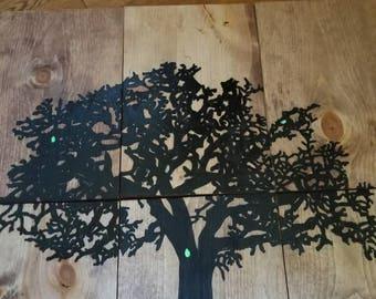 6 panel Tree of Life wall decor glows in the dark