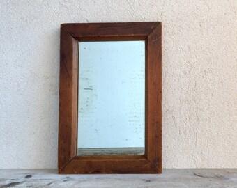 Antique Mirror with Wooden Frame, Victorian Era Hanging Mirror