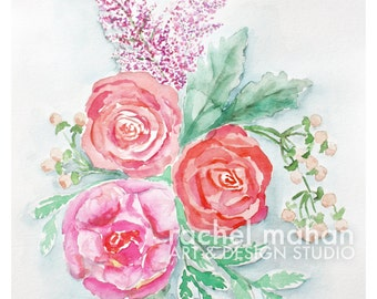Pink Peony and Coral Roses, Spring Floral #2 - 8x10 Fine Art Watercolor Print