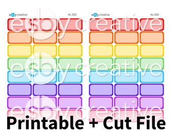 Rainbow Half Boxes - Digital Files for Erin Condren, Happy Planner, Personal Planner Sticker Printable INSTANT DOWNLOAD - AL-020