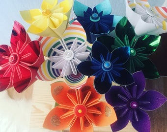 Origami kusudama paper flowers, rainbow themed paper/card flowers, home decor