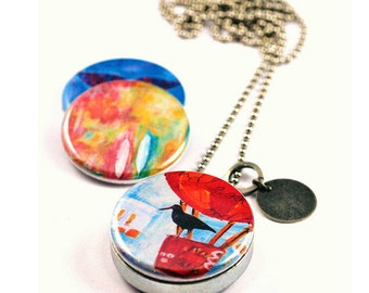 Art Locket, Abstract Art, Magnetic 3 Necklaces in 1, Gift for Her, Whale Locket, Black Bird on Hot Air Balloon, Art Jewelry, Locket Necklace