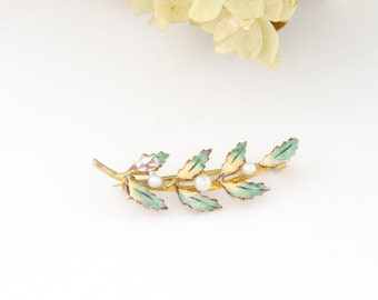 Antique 14k Gold Green Enamel Brooch | 14k Antique Gold Enamel Leaf Brooch | Art Nouveau 14k Pearl Brooch